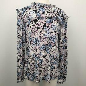 Karl Lagerfeld Floral Ruffle Long Sleeve Top Sz- M